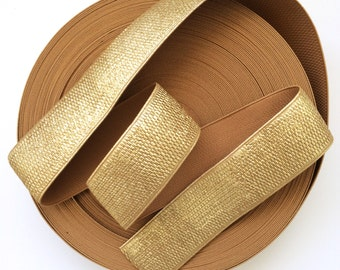 "2"" Bronze Gold Textured Stretch Elastic Band"