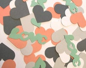 Gray & Coral Wedding LOVE Confetti - 200 Pieces Heart Confetti  -Yellow and Gray Wedding Confetti - Bridal Shower Decor - Custom Colors