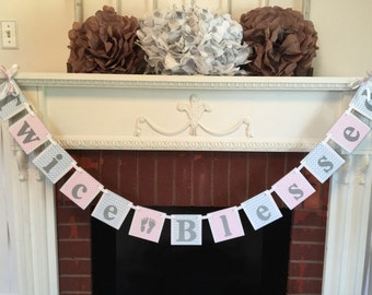 Twice Blessed Banner - Pink or Blue we Love you- Twins Baby Shower Decorations - It's Twins Banner - Chevron Baby shower Decor -