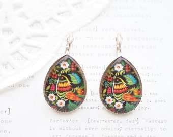 Teardrop Silver Folk Bird Earrings