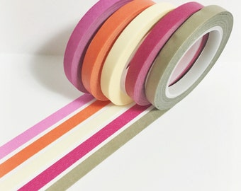 Washi Tape Set of 5 Skinny Solid Color Washi Tape 11 yards 10 meters 5mm Each Pink Orange Beige Magenta Gold