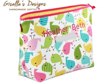 Personalized diaper clutch, Custom made travel organizer, Large toiletry bag.