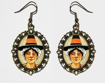 Witch Earrings, Halloween Jewelry, Wiccan, Witchcraft, Pendant Earrings