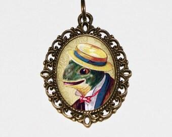 Gentleman Frog Necklace, Frog Jewelry, Oval Pendant