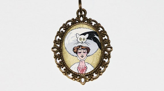 Cat lady necklace art nouveau cat on hat cat jewelry oval for Cat in the hat jewelry