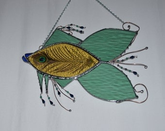 Funky Fish Art - Custom - Sun Catcher - Stained Glass - Peacock Feather - Fish Decoration - Whimsical - Fish Designs - Made To Order