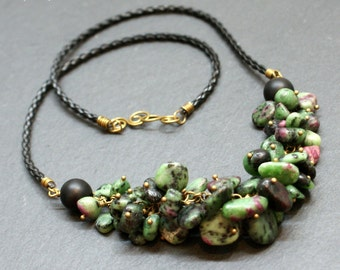 Ruby Zoisite Black Onyx Leather Antiqued Brass Cluster Necklace