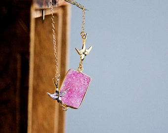 Pink Quartz Druzy Necklace Pink Druzy Stone Swallow Necklace Gold Filled Chain Crystal Druzy Jewelry - N303