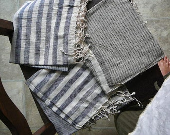 striped scarves shawl throws wraps greys nautical blues and browns fine light organic cotton handloom