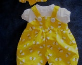 """15""""  Baby Doll Clothes -Bright Yellow Bumblebee Print Romper, Shirt, Headband  Fits Bitty Baby, Bitty Twin, or Other 15"""" Baby Doll"""