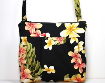 Small Pleated Shoulder Purse Sling Bag Hobo Shoulder Bag Cross Body Bag - Tropical Flowers and Leaves on Black - Ready to Ship