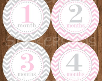 Monthly Baby Milestone Stickers Baby Girl Blush Pink Grey Gray Chevron Dots Bodysuit Baby Stickers Baby Age Stickers Baby Month Sticker