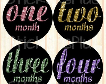 Monthly Baby Stickers Baby Girl Month Stickers Milestone Stickers Monthly Photo Stickers Bodysuit Sparkle Gold Pink Purple Green Glitter