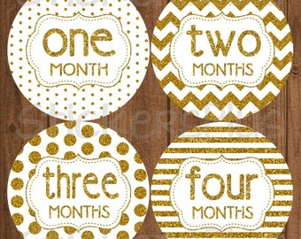 Monthly Baby Milestone Stickers Plus FREE Gift Gold White Glitter Chevron Dots Stripes Nursery Baby Growth Age Stickers Baby Month Stickers
