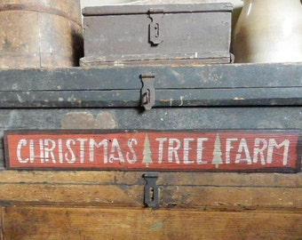 Primitive -  ChRisTmAs TrEE FaRM  - HandPaiNTeD DisTreSSeD HoLidaY  Sign - AweSomE