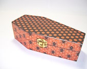 Spiders Dots Coffin Trinket Box Decoupage