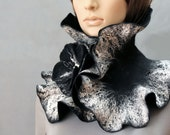 Handmade Felted Scarf collar neck warmer black and silver with felted brooch Black flower Ready to ship