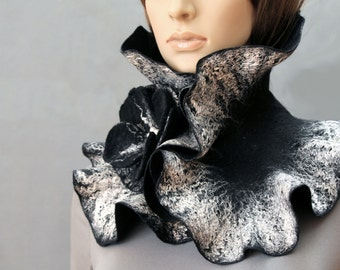 Handmade Felted Scarf collar neck warmer black and silver with felted brooch Black flower Made to order