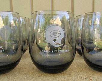 vintage 70s green bay packers drinking glasses smoky gray roly poly tumblers 9  nos