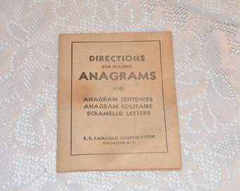 Anagrams Directions For Playing Anagrams Vintage Instructions For Playing Anagrams Letter Tile Game