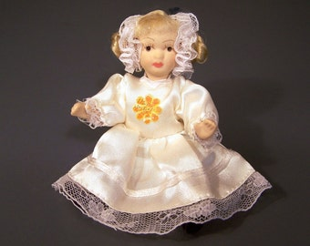 Doll Porcelain Ceramic Miniature Figurine Blonde White Satin Lace