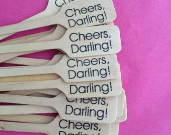 Cheers Darling Drink Stirrer / Birthday Party/ Perfect for Wedding / Set of 100 / Cocktail Stir Stick / Drink Stir Stick /