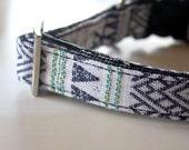 White Tribal Geometric Dog Collar