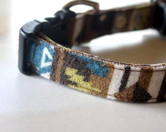 Southwestern Dog Collar - Green, brown, blue