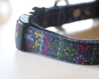 Snow Flakes Dog Collar- Navy, red