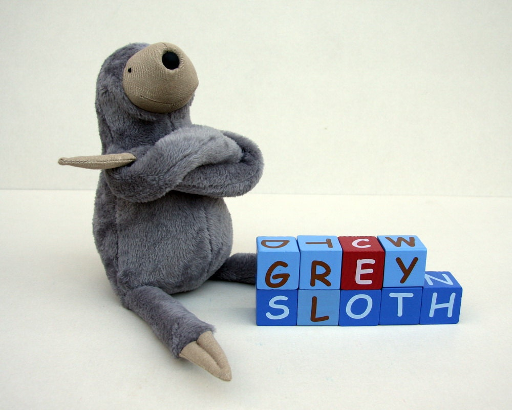 Small Plush Grey Sloth, stuffed animal toy for children, cuddly jungle stuffie, sleeping fellow