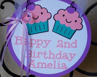 Cupcake Birthday Door Sign/ Cupcake Birthday Party Theme