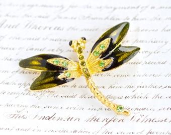 Green Dragonfly Lapel Pin - Vintage enamel and Rhinestones Brooch