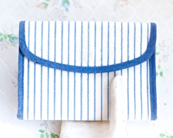 Blue and White Stripes Wallet - Canvas Nautical Purse