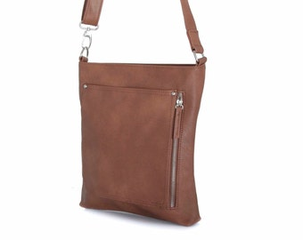 Leather Messenger Bag with Silver Zippers, Handmade in Brown Vegan Leather -  the simple Maire - sale with coupon code TRACBAG30OFF345