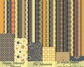 "Scrapbook Digital Paper Photo Background Patterned Printable - 30 designs - 12""x 12""- 300 dpi - jpg"