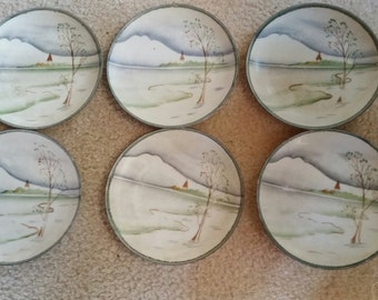 Antique Nippon Hand Painted Bread & Butter Plates ca 1921 or Before Moriage