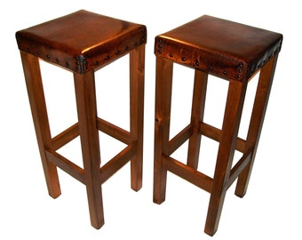 Wood leather barstool