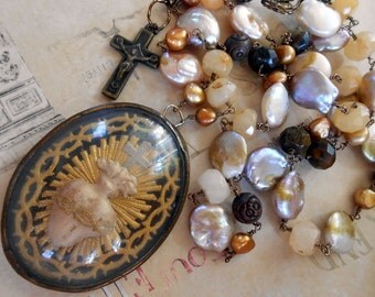 Ex Voto Religious Necklace, Immaculate Heart, Antique French Reliquary, Coin Pearls, Rosary, Repurposed, Upcycled, Recycled
