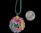 Micro-Crochet Pendant With Beaded Dangle, Faux Suede Cord