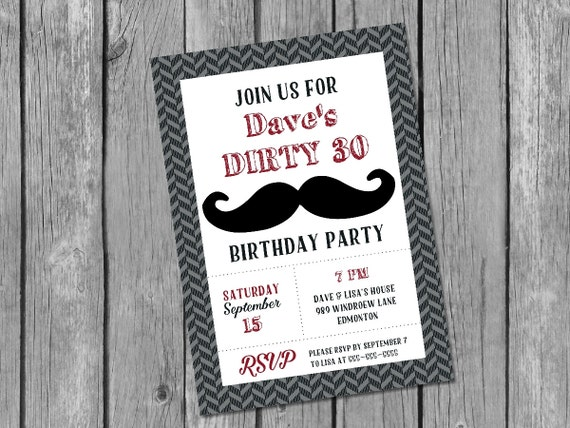 Printable male 30th birthday invitation dirty 30 invitation – Male 30th Birthday Invitations