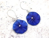 Recycled Glass Bead Earrings. Beads made from a Kronenbourg Beer Bottle