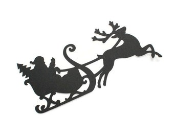 Santa Claus & reindeer silhouette die cuts - you choose your colors and size (C70)