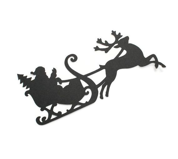 Items similar to Santa Claus & reindeer silhouette die ...