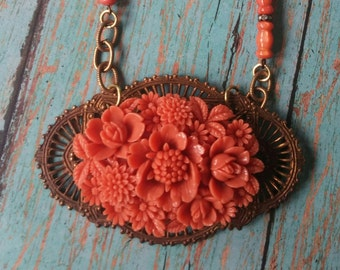 Upcycled vintage celluoid necklace, boho, retro jewelry, pin up, repurposed, one of a kind jewelry