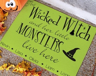 Halloween Witch Personalized Doormat -gfy83196947S