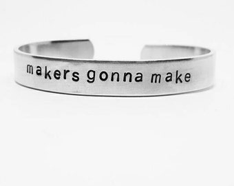 makers gonna make: hand stamped aluminum cuff bracelet for crafters and creatives