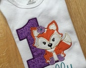 1st birthday fox bodysuit with name, you choose the colors you'd like