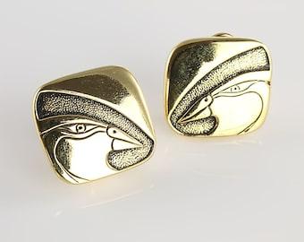 Laurel Burch Mynah Bird Earrings jewelry, black enamel gold 1980s vintage clip on earrings