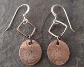 Boho Mini Copper Earrings ~ Double ~ Gingko Leaf