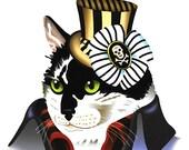 Steampunk Cat Print, Steampunk Animal Print, Tuxedo Cat, Black and White Cat, Victorian Cat Print, Cat in Top Hat